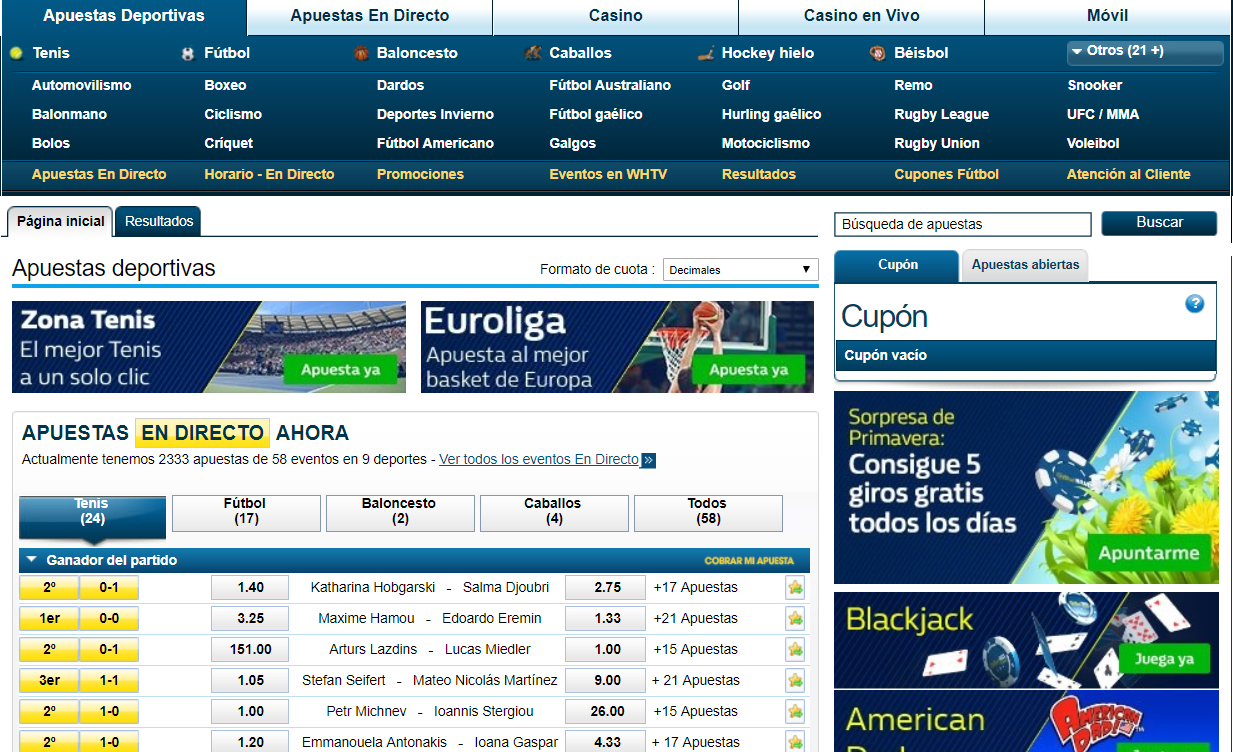 Apuestas deportivas William Hill