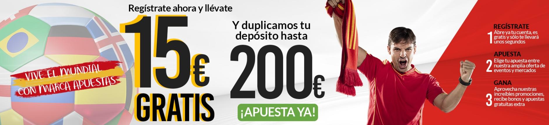 Marca Apuestas 15€ bono sin depósito