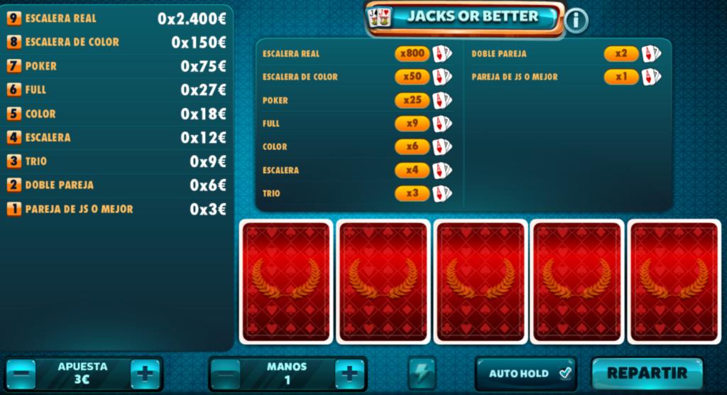 Jacks or better vídeo poker