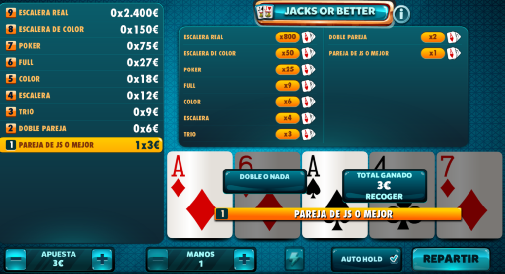 Jacks or better 3 vídeo poker